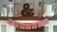 Valentines Day Heart Banner- Valentines Decor, Valentines Day Sign-Valentines Day Banner-Valentines Day Bunting - Photo Prop
