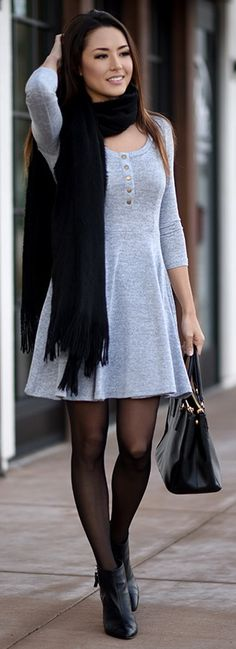 Shein Dress | HUE Tights | Prada Bag | Aldo Booties | Old Scarf