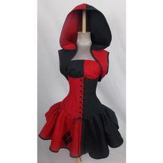 Female Joker Inspired Villain Style Brick Red Black Top Hoodie Corset,... ($425) ❤ liked on Polyvore