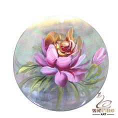Female Fashion  Pendant Hand Painted Rose Natural Black Lip Shell ZL302079 #ZL #Pendant