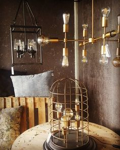 Three stunning Vintage pieces from our Showroom - Dar Vintage Bulb hanging ceiling light, exposed bulb vintage table lamp