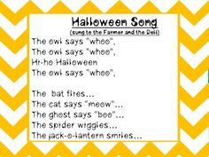A fun Halloween song sung to the Farmer and the Dell. Halloween Music, Toddler Halloween, Halloween Rhymes, Halloween Poems, Family Halloween, Baby Halloween, Halloween Crafts, Halloween Costumes, Halloween Songs For Preschoolers
