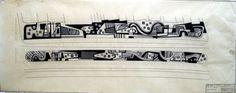 Projeto Calçadão de Copacabana Elaborado por Burle-Marx em 1974, o desenho foi um presente para a abertura da Avenida Atlântica, e foi ornado no chão por pedras portuguesas tricolores. (A cópia foi fotografada pelo diretor do escritório Burle Marx & Cia Ltda, sr. Haruyoshi Ono, que trabalhou ao lado dele por mais de 30 anos).