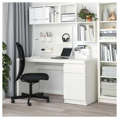 MALM Desk, white, 55 A clean design that's just as beautiful on all sides – place it free-standing in the room or against a wall with cables neatly hidden inside. Use with other MALM products in the series for a unified look. Guest Room Office, Home Office Space, Office Walls, Home Office Design, Home Office Decor, Home Decor, Home Office White Desk, Bedroom Office Combo, Work Desk Decor