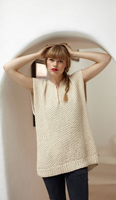 Very Simple Tunic - basically 2 rectangles with a slit in the front for the front neck opening...couldn't get easier with the rice stitch...in cotton would be fabulous