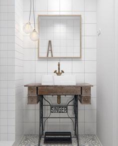 relooker sa salle de bain avec un meuble sous vasque vintage suspensions boules et carrelage - Salle De Bain Pierre De Travertin