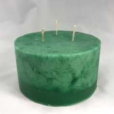 Green Three Wick Pillar Candle Small | Etsy Big Candles, Home Candles, Pillar Candles, Wicked, Fragrance, Green, Handmade, Etsy, Decor