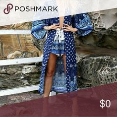 Ocean's Edge Kimono Beautiful ocean blues, sheer Bohemian/ Hippie style kimono. Lightweight and open front style out with denim, shorts, leggings, boots or sandals. 65 % cotton 35 polyester.   S/MED     36  b/w                   51  length   Lge/ XL   38 b/w                  52 length   Price is firm bundle and save   Tags: vacation Coachella Ready concerts dinners beach Hippie seventies Boutique By The Bay Jackets & Coats