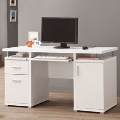 Features:  -Inside the right hand pedestal, there is 1 adjustable shelf.  -The file drawer is able to hold letter size hanging folders.  Desk Type: -Computer desk.  Top Material: -Manufactured Wood.