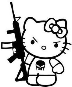 Kalash Kitty - Hello Kitty with AK Car Truck iPhone Samsung Wall Vinyl Decal Hello Kitty Gun, Hello Kitty My Melody, Hello Kitty Birthday, Dibujos Dark, Hello Kitty Tattoos, Psychedelic Drawings, Free Adult Coloring, Punisher Skull, Donia