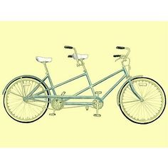 Tandem Bicycle Drawing. Looks just like the one we had when I was a kid.