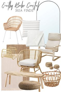 Earthy Boho Coastal Ikea Home Decor Finds — Jess Allred Ikea Outdoor, Coastal Living Rooms, Living Room Decor, Ikea Wicker Chair, Ikea Home, Beach House Decor, Home Decor, Minimalist Home Interior, Coastal Decor