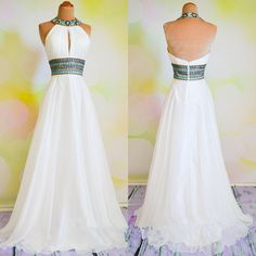 Halter Prom Dress,Backless Prom Dress,Beaded Prom Dress,Fashion Prom