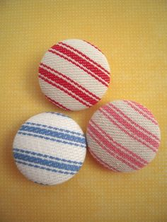 Vintage Pillow Ticking Fabric Covered Buttons by CampStoreVintage, $4.50
