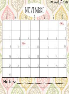 - NOVEMBRE 2015 - Imprimes le calendrier pour customiser ton agenda. A voir: vidéo sur ma chaîne!