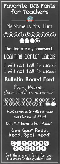 """Back to School is just around the corner!! Here are some free """"for the classroom"""" fonts for teachers from DJB Fonts. Which is your favorite teacher font?"""