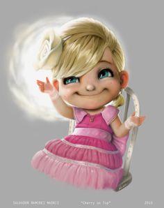 cute pastel paintings of little girls | little cupid girl angel cherub cute photoshop painting pixar style ...