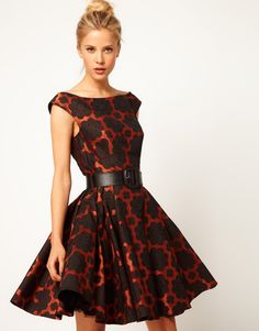 ASOS Skater Dress In Floral Jacquard With Belt £65.00  This dress by ASOS Collection has been made from floral jacquard fabric. The details include: an off the shoulder design with cap sleeves, fitted bodice, leather look pin buckle belt, flared skirt with tulle lining for a full shape and a concealed zip fastening to the reverse. The dress has been cut with a fit and flare shape