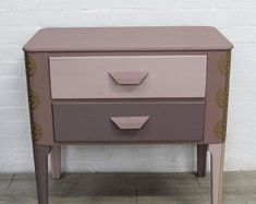 Vintage Lebus Chest Of Drawers With Gold Decoupage Vintage Chest Of Drawers, Transforming Furniture, Kingdom Of Great Britain, Decoupage Vintage, Oak Cabinets, Solid Oak, Household Items, Cool Designs, Art Deco
