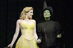 Helen Dallimore (Glinda) and Idina Menzel (Elphaba) in the original West End production.