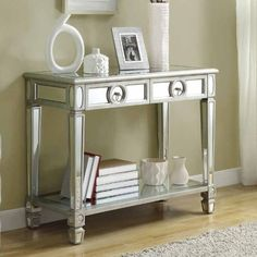 Monarch Sofa Console Table with Mirrored Finish and 2 Drawers - Console Tables at Hayneedle