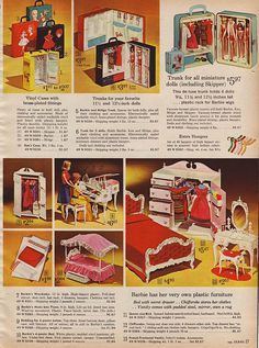 Barbie Doll Cases, Susy Goose Wardrobe, Grand Piano, Canopy Bed, Queen Bed, Queen Chifferopbe and Vanity from the Sears Christmas Catalog, 1964