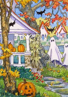 """Daily Paintworks - """"Always the First on the Block a Storybook Cottage Halloween"""" - Original Fine Art for Sale - © Alida Akers Halloween Pictures, Holidays Halloween, Spooky Halloween, Halloween Themes, Vintage Halloween, Halloween Crafts, Happy Halloween, Halloween Decorations, Halloween Halloween"""