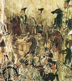 Goguryeo Tomb Mural - Military Procession Detail. Anak Tomb #3, 357 A.D. North Korea, Hwanghae Province