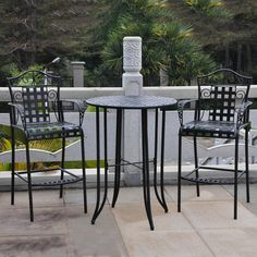 International Caravan Mandalay Black Frame Bistro Patio Set with Bistro at Lowe's. Add a touch of elegance and classic style to your patio or garden with this bar-height bistro set. This set features an elegantly curved Mandalay design, Bistro Patio Set, Patio Bar Set, Bistro Tables, Mandalay, Bar Height Patio Set, 3 Piece Bistro Set, Pub Set, Patio Furniture Sets, Furniture Design