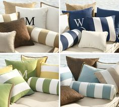 Monogrammable Outdoor Pillow | Pottery Barn:  I actually use the solid blue ones inside and they work!  Adore the monogram option.