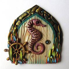 Seahorse Fairy Door Pixie Portal Polymer Clay Miniature Door
