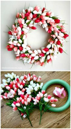 Easy DIY Tulip Wreath for Spring - 101 Easy DIY Spring Craft Ideas and Projects - DIY & Crafts #craftideas