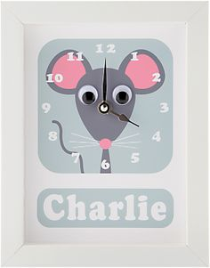 Stripey Cats Personalised Minty Mouse Framed Clock, 23 x 18cm