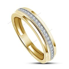 Simulated Diamond 14k Gold Finish 925 Silver Men's Wedding Band Ring…