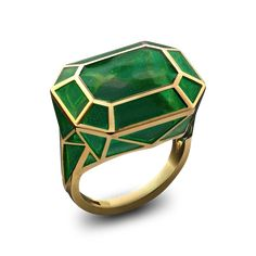 RECTANGLE REAL FAKE RING COLLECTION Stoned DESCRIPTION An emerald green plique-à-jour enamel ring in 18ct yellow gold Solange Azagury-Partridge