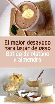 El mejor desayuno para bajar de peso. Batido de plátano y almendra Yummy Drinks, Healthy Drinks, Healthy Tips, Healthy Recipes, Healthy Food, Skinny Rules, Deli, Smoothies, Healthy Lifestyle
