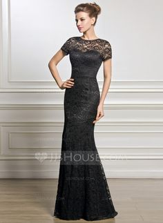 Trumpet/Mermaid Scoop Neck Floor-Length Zipper Up Sleeves Short Sleeves No 2015 Black Spring Summer Fall General Plus Lace Mother of the Bride Dress