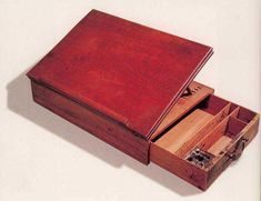 The Declaration of Independence was composed on this mahogany lap desk. Made by Benjamin Randolph after a design by Thomas Jefferson. Portable writing desk, Philadelphia, Courtesy of the National Museum of American History, Smithsonian Institution Woodworking Dust Mask, Woodworking Shows, Woodworking Classes, Woodworking Plans, Woodworking Projects, Woodworking Basics, Thomas Jefferson, Karate Belt Display, Portable Desk