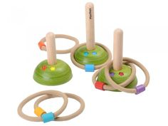 Practice your aim with this beautifully made Plan Toys Meadow Ring Toss game. Set features 6 colour coded rope rings and 3 wooden posts of various heights Games For Kids, Activities For Kids, Toddler Games, Plan Toys, Wooden Posts, Green Toys, Eco Friendly Toys, Ring Toss, Toss Game
