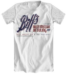Biff's Auto Detailing - Back To The Future Inspired White T-Shirt: Amazon.co.uk: Clothing