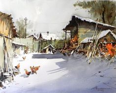 Most popular tags for this image include: · Corneliu Dragan-Targoviste . Art Aquarelle, Watercolor Landscape Paintings, Watercolor Sketch, Watercolor Artists, Watercolour Painting, Landscape Art, Watercolors, Watercolor Architecture, Draw On Photos