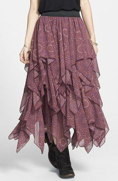 Free People Print Layered Handkerchief Hem Skirt available at Hankerchief Skirt, Paisley, Mid Length Skirts, Boho Skirts, Blouses For Women, Fashion Dresses, Textiles, Clothes, Free People