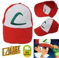 Pokemon Trainer Hat ASH KETCHUM CAP Embroidered Kids Anime Baseball Hats New…