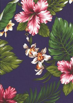 Na holo - Barkcloth Hawaii - Timeless Hawaiian Fabrics For your Home & Body Realistic tropical design, including monstera leaves, banana leaves, hibiscus, orchid, and plumeria flowers.