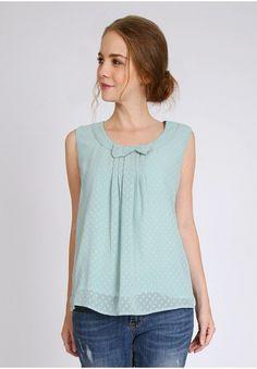 Hint of Mint Polka Dot Blouse | Modern Vintage Tops | Modern Vintage Clothing | Ruche