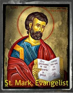 St Mark. Apostle and Evangelist. In Christian literature and art St. Mark is symbolically represented by a lion. He died while being dragged through the streets of Alexandria, and his remains were sent to Venice. The Latin and Greek Churches celebrate his feast on 25 April, but the Greek Church keeps also the feast of John Mark on 27 September.