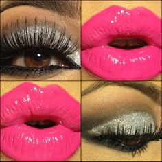 Silver Glitter, Pink Lips with Big Lashes