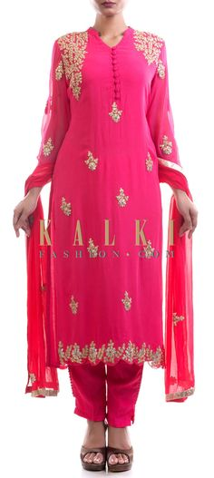 Buy Online from the link below. We ship worldwide (Free Shipping over US$100) Price- $169 Click Anywhere to Tag http://www.kalkifashion.com/pink-suit-and-dupatta-with-golden-embroidery.html