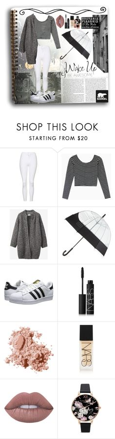"""'The sky is painted grey.'"" by rhiannonpsayer ❤ liked on Polyvore featuring SOREL, Topshop, Toast, Hunter, adidas Originals, WALL, NARS Cosmetics, Bobbi Brown Cosmetics, Lime Crime and Olivia Burton"