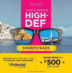 Enter to win a pair of Polaroid Twist sunglasses. We'll select a winner everyday June 20th - August 1st.
